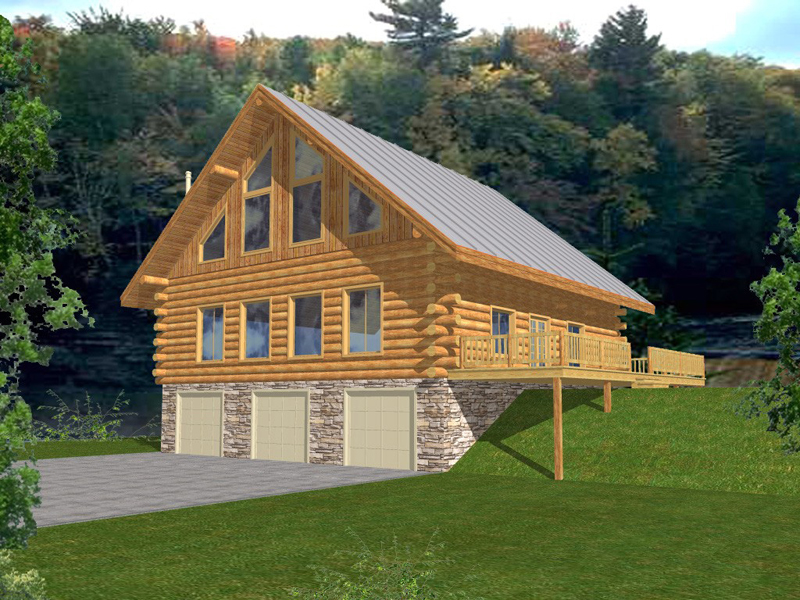 Log Cabin House Plan Front of Home 088D-0051