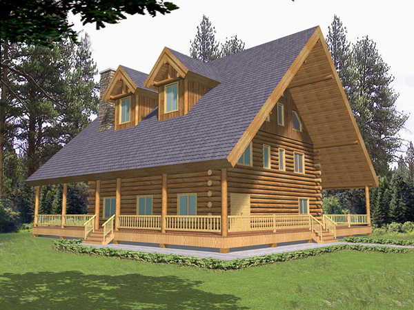 Trotting trail luxury log home plan 088d 0052 house for Full wrap around porch log homes
