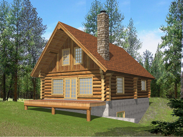 Questover Canyon Log Cabin Home Plan 088d 0053 House