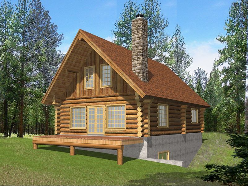 Log Cabin Plan Front of Home 088D-0053