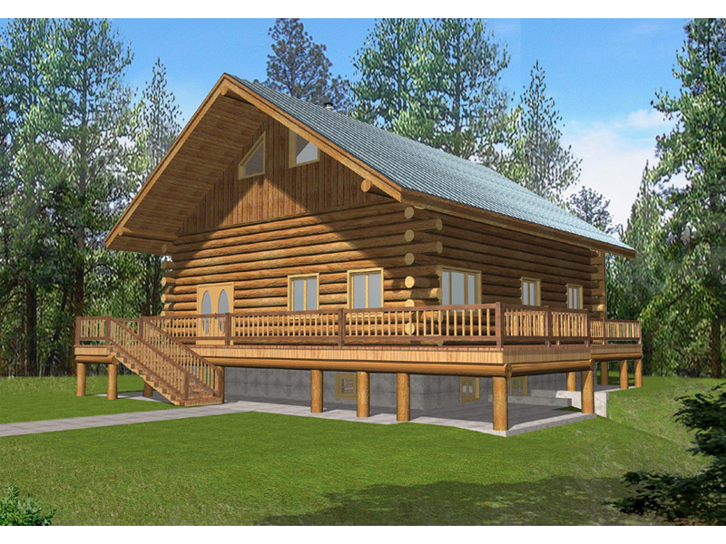 Log Cabin House Plan Front of Home 088D-0054