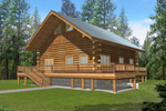 Spacious Log Style Home Features Wrap-Around Porch