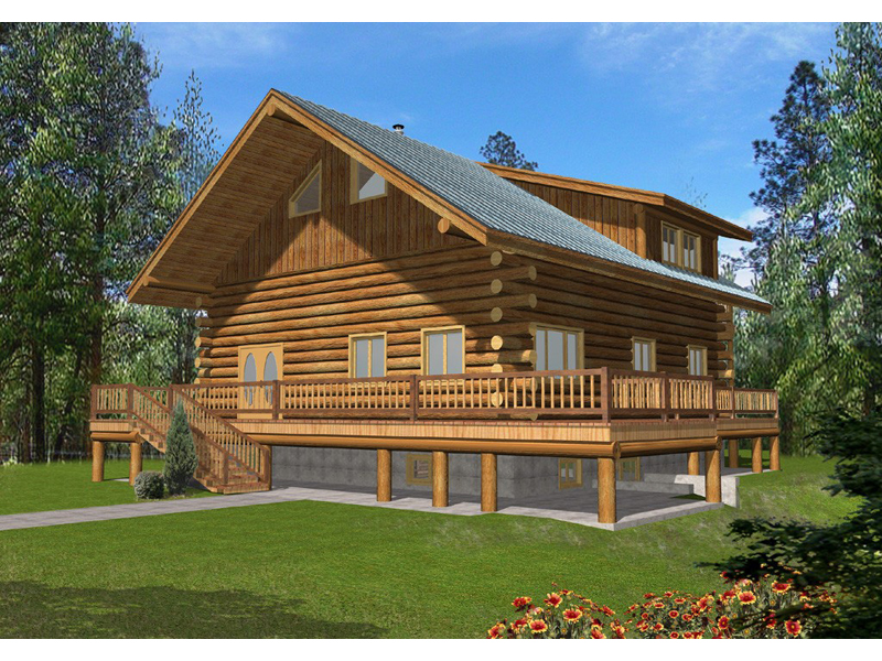 Log Cabin Plan Front of Home 088D-0055