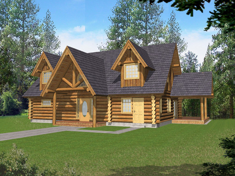Terrific Log Cabin Style Home With Impressive Entry Porch And Dormers