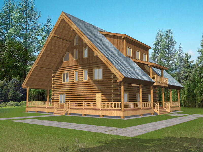 King cove luxury log cabin home plan 088d 0057 house for Full wrap around porch log homes