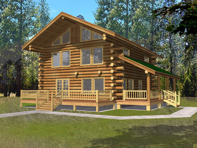 Log Cabin House Has Relaxing Covered Porch