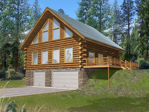 Stone creek log cabin home plan 088d 0064 house plans for Log and stone home plans