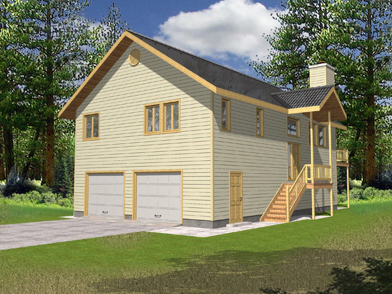 Lake House Plan Front of Home 088D-0066