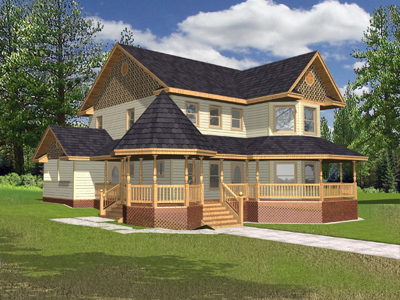 Victorian House Plan Front of Home 088D-0072
