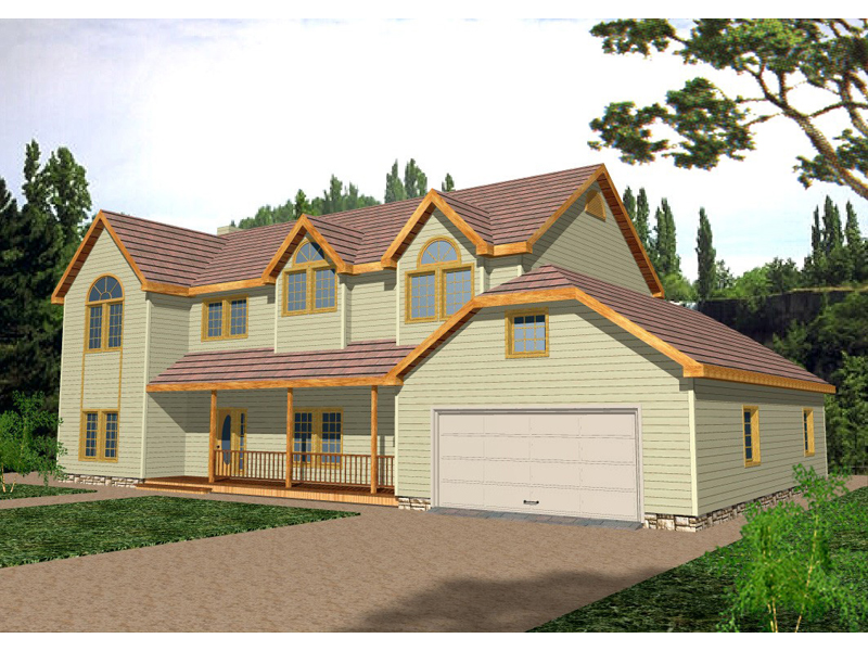 Traditional House Plan Front of Home 088D-0074