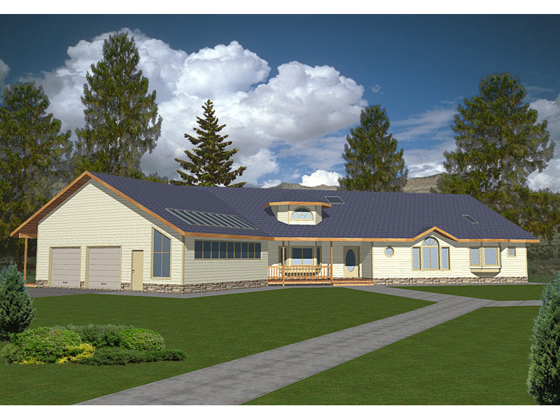 Ranch House Plan Front of Home 088D-0075