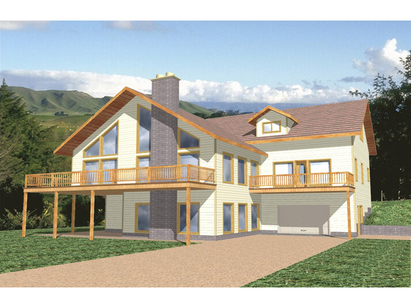 A-Frame Home Plan Front of Home 088D-0076