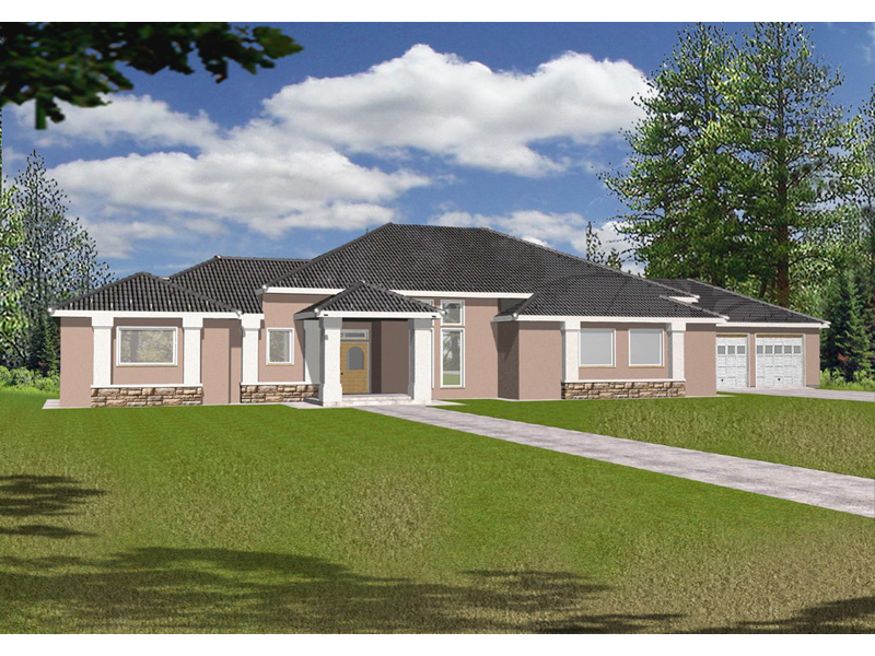 Ranch House Plan Front of Home 088D-0082