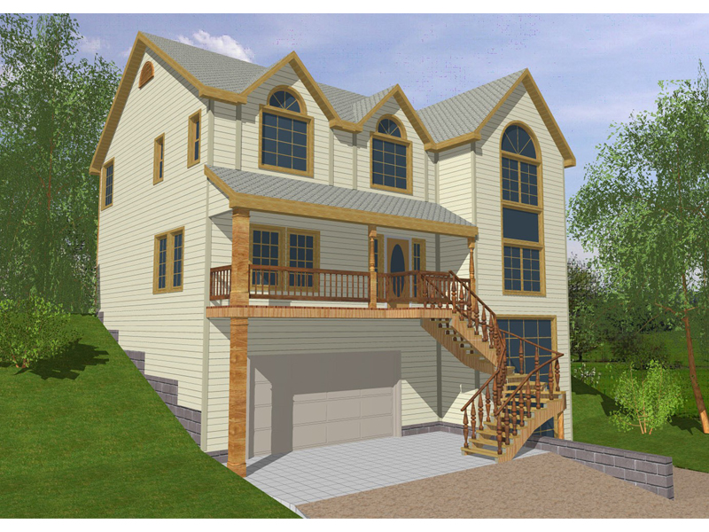 Lake House Plan Front of Home 088D-0088