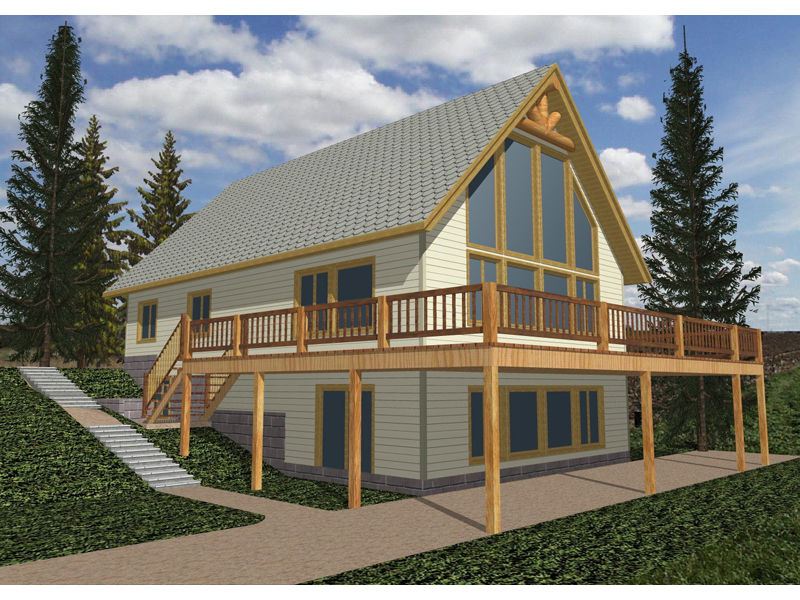 A-Frame Home Plan Front of Home 088D-0089