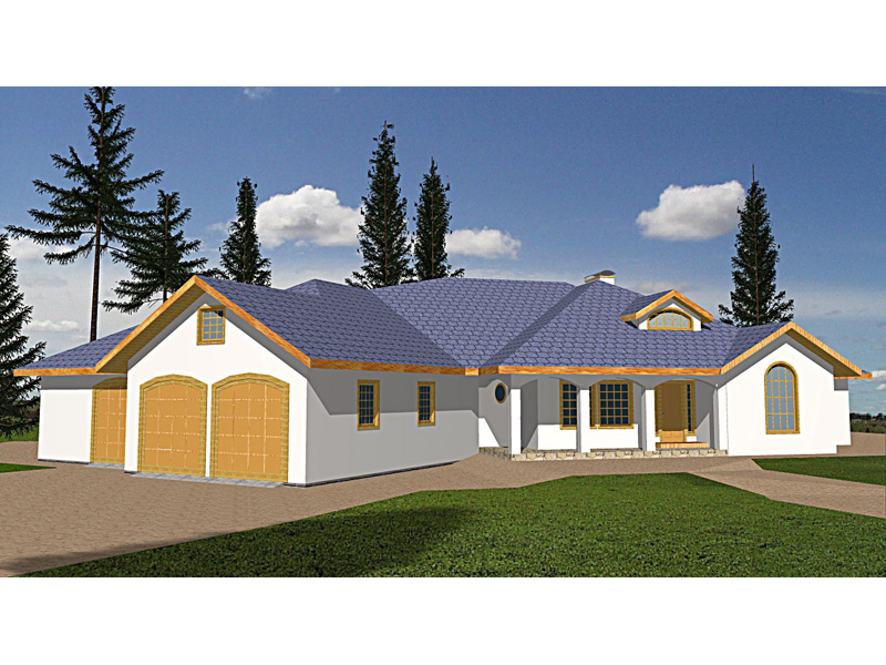 Ranch House Plan Front of Home 088D-0092