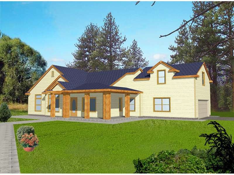 Traditional House Plan Front of Home 088D-0095