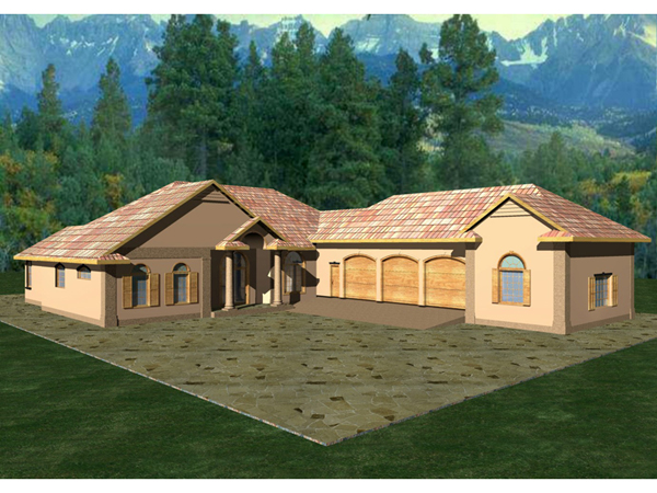Duarte luxury ranch home plan 088d 0100 house plans and more for L shaped ranch house plans
