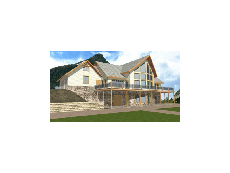 A-Frame Home Plan Front of Home 088D-0114