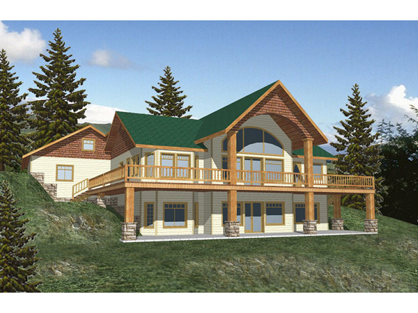 Morelli waterfront home plan 088d 0116 house plans and more for Log cabin floor plans with walkout basement