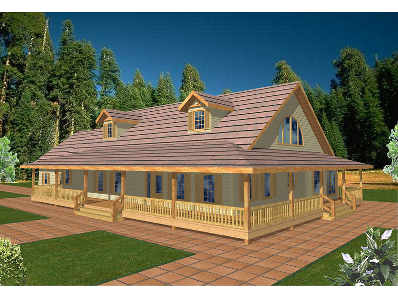 Le chateaux acadian style home plan 088d 0126 house for Acadian style house plans with wrap around porch