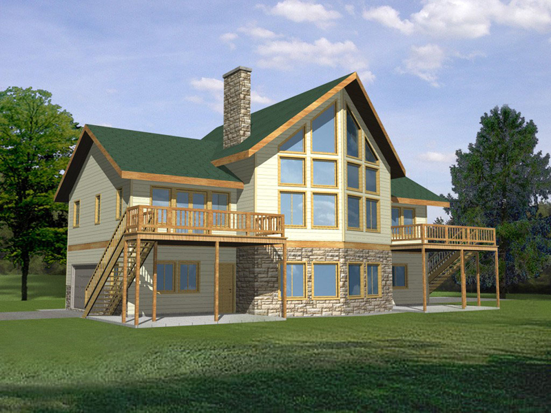 Lake House Plan Front of Home 088D-0128