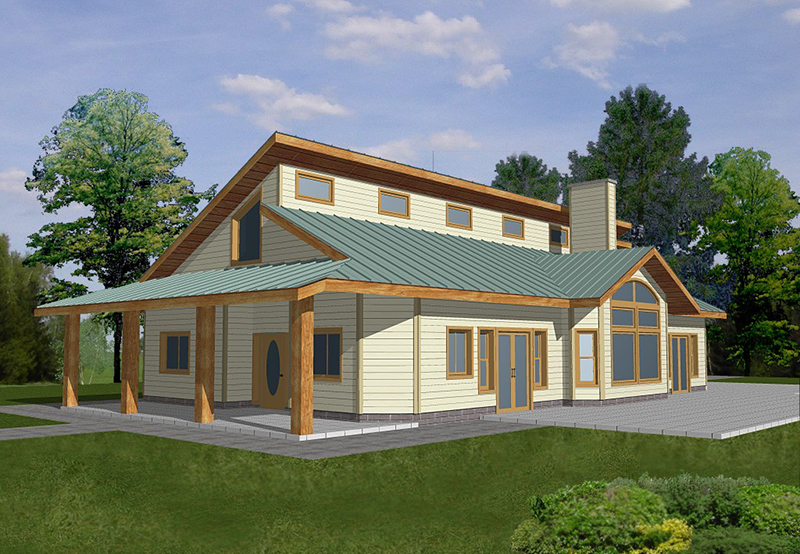 Lake House Plan Front of Home 088D-0129