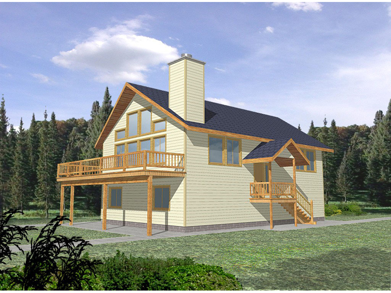 Vacation Home Plan Front of Home 088D-0132