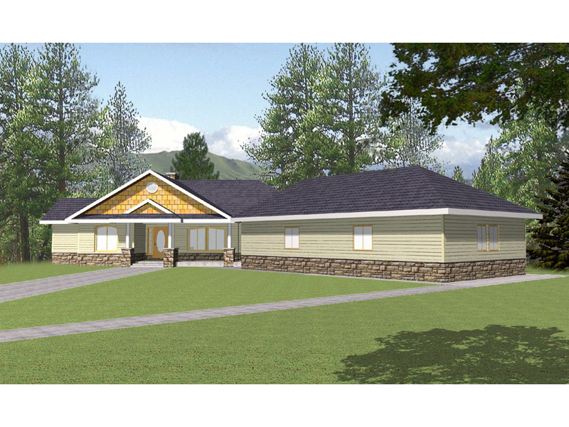 Ranch House Plan Front of Home 088D-0136