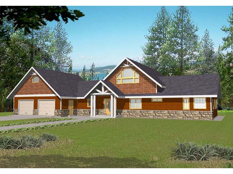 Bungalow House Plan Front of Home 088D-0140