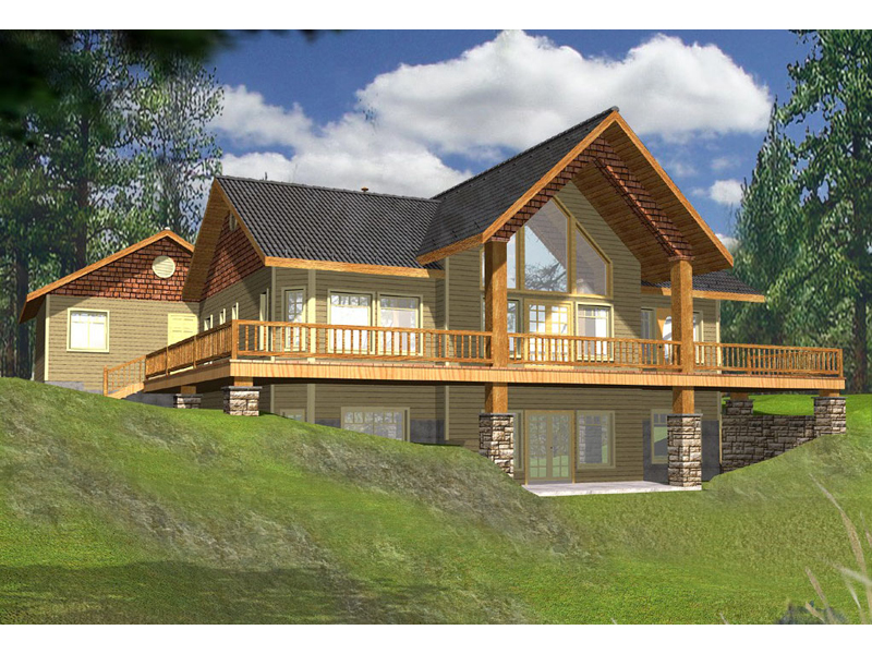 Golden lake rustic a frame home plan 088d 0141 house for Rustic lake house plans