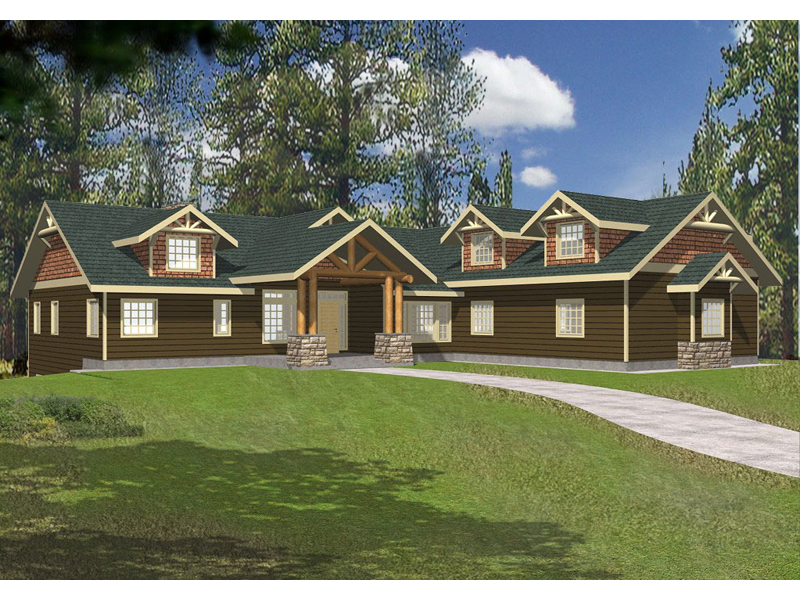 Mountain Home Plan Front of Home 088D-0143