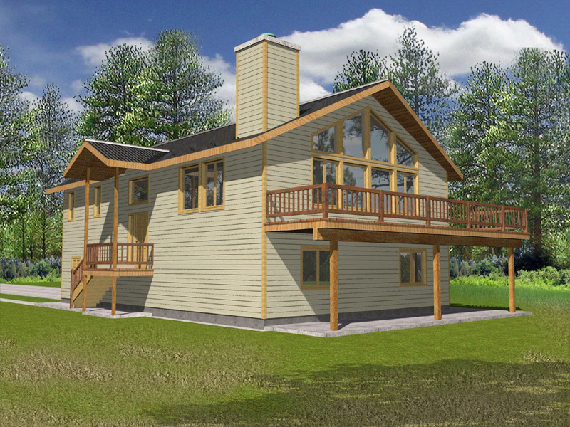 A-Frame Home Plan Front of Home 088D-0145