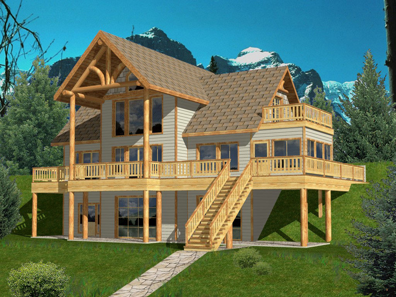 A-Frame Home Plan Front of Home 088D-0147