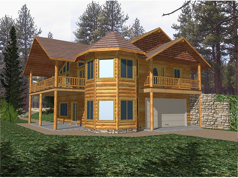 Rustic Two-Story Log Home With Corner Turret