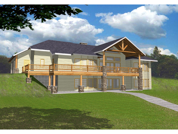Masonville manor mountain home plan 088d 0258 house for Vacation house plans sloped lot