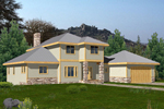 Prairie Style Two-Story House With Rsutic Stone And Trim