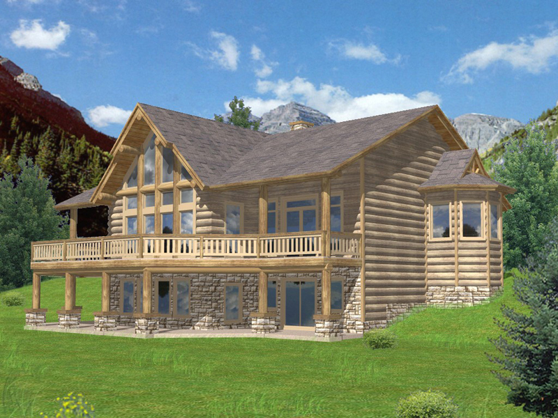 Log House Plan Front of Home 088D-0269