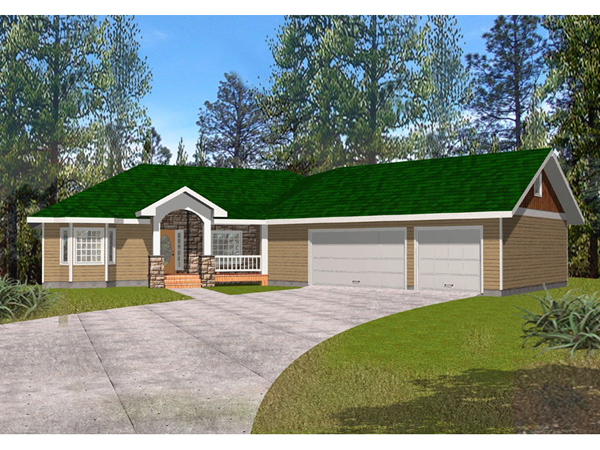 Fox run country ranch home plan 088d 0281 house plans for Side entry garage