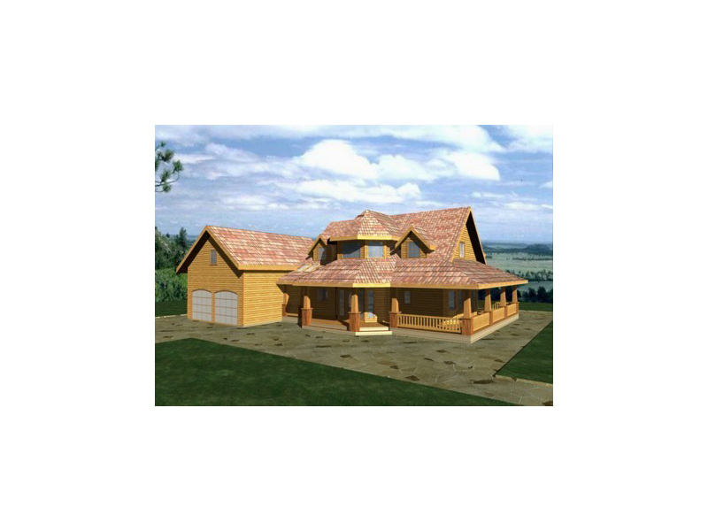 Log Cabin Plan Front of Home 088D-0283