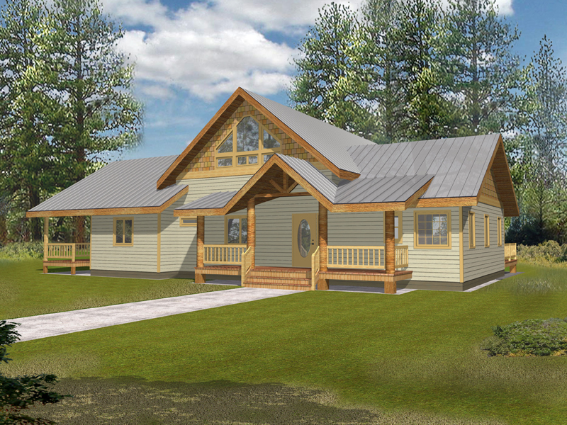 rustic inspired country home has multiple decks with craftsman influence - Rustic Country House Plans