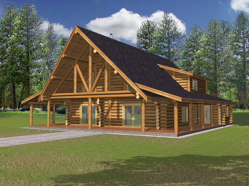 Log Cabin Plan Front of Home 088D-0323