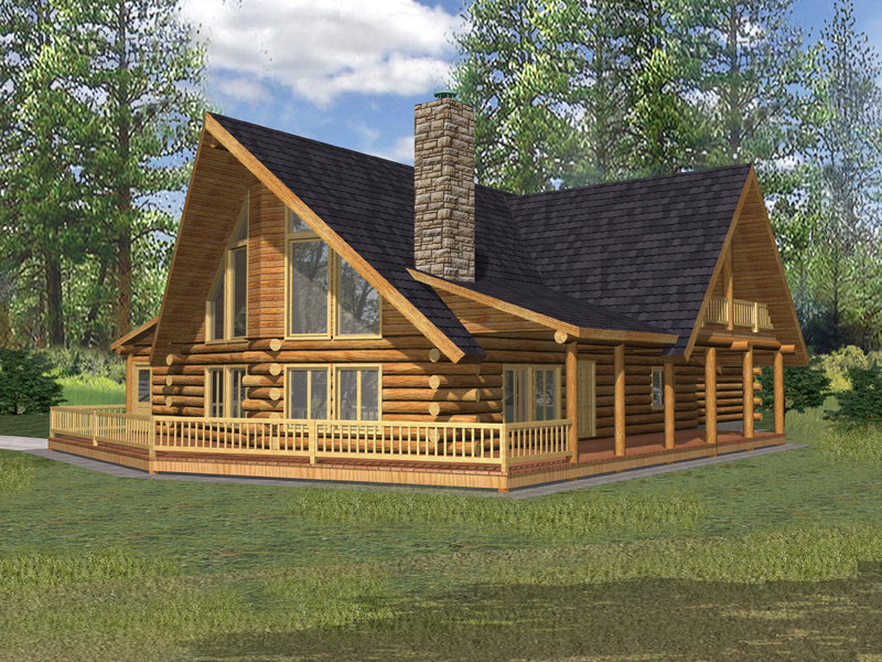 Relaxing Deck Surrounds This Rustic Log Homes Facade