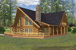 Relaxing Deck Surrounds This Rustic Log Homes Façade