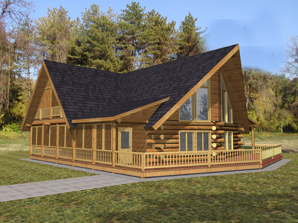 Woody creek rustic a frame home plan 088d 0325 house for Full wrap around porch log homes