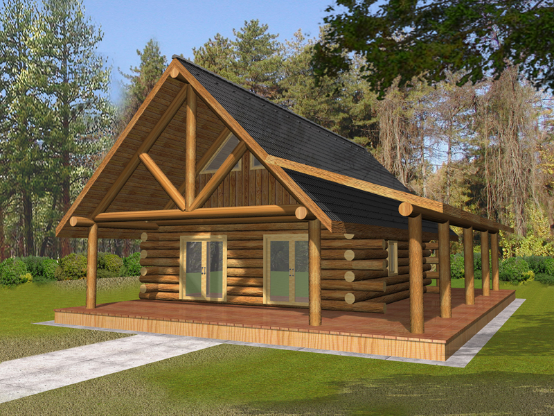 Log Cabin House Plan Front of Home 088D-0326