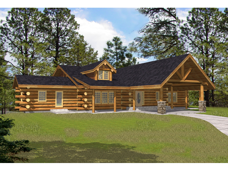 Luxury Log Home Boasts Rustic Feel With Stone Columns Keystone Ridge Plan 088D 0327  House Plans and More