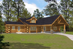 Luxury Log Home Boasts Rustic Feel With Stone Columns