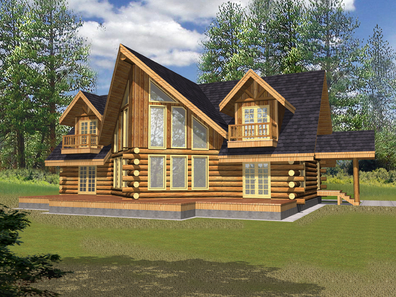 Log Cabin Plan Front of Home 088D-0328