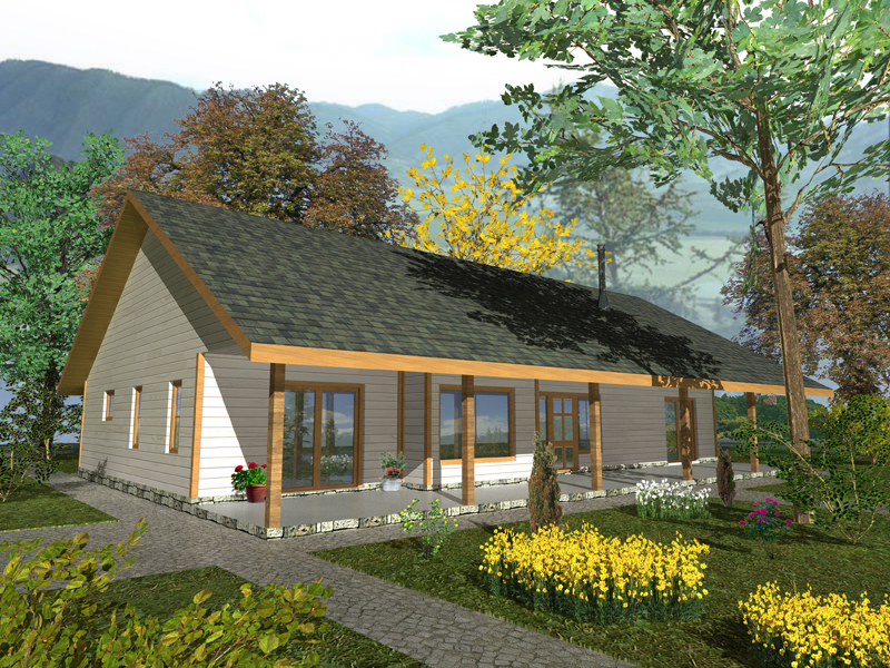 Ranch House Plan Front of Home 088D-0329